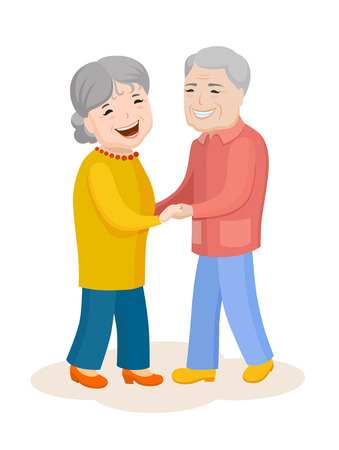Fun cartoon family. Elderly heterosexual couple in colorful stylish clothes. Cheerful grandfather and grandmother spend time together