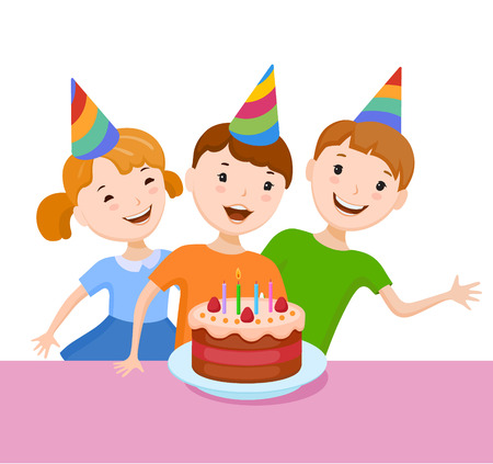 Fun cartoon company of a friends and relatives kids celebrating the birthday. They try to blow out a candle on the cake