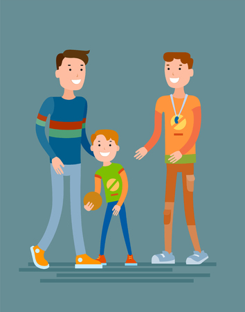 Flat style vector father and son conversing with coach of the sports school