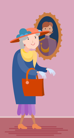 Flat style vector old woman visits the Museum of Fine Arts