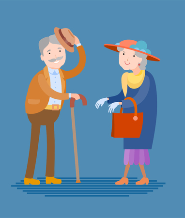 Flat style vector meeting of two elderly people. Grandfather and grandmother, two reputable people Ilustração