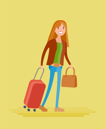 Flat style vector young girl goes on a journey with a bag and suitcase