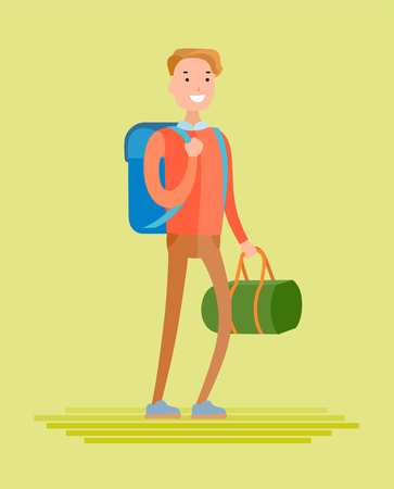 Flat style vector young man goes on a journey with a bag and backpack