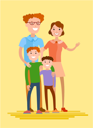 groupe: Flat style vector happy family. Mother, father and two sons