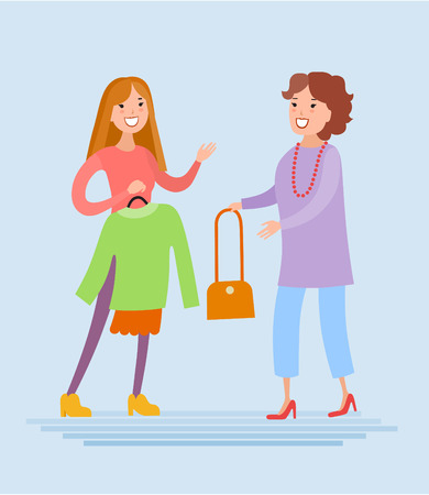 Flat style vector mother and daughter are shopping. They are dressed in fashionable colorful clothes Illustration