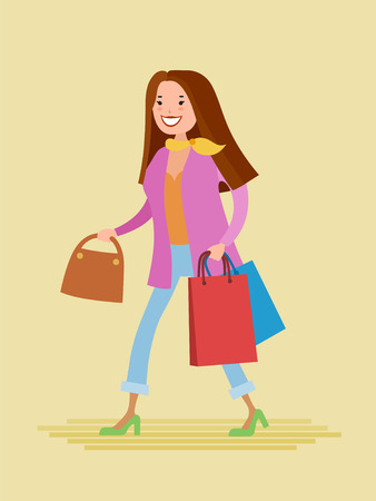 Flat style vector young woman are shopping. She are dressed in fashionable colorful clothes