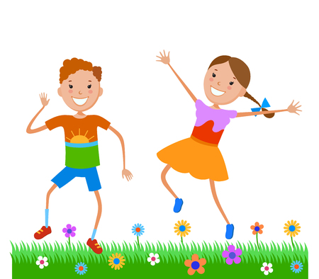 Dancing of little cartoon fun kids in colorful clothes
