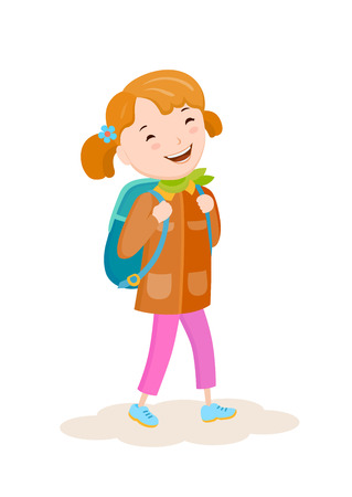 Cartoon vector small girl goes on a journey with a backpack Illustration