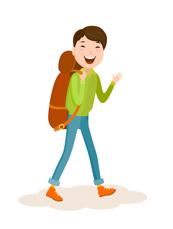 Cartoon vector young man goes on a journey with a backpack Illustration