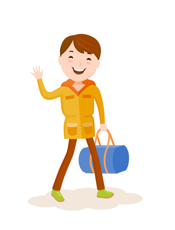 Cartoon vector small boy goes on a journey with a bag Illustration