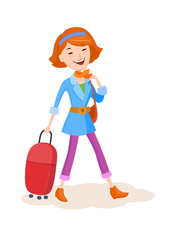 Cartoon vector young woman goes on a journey with a handbag and suitcase