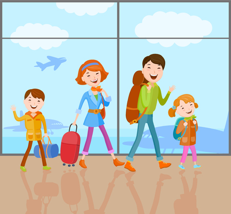 Cartoon vector family goes on a journey with a bag, a handbag, a backpack and suitcase. The family came to the airport to fly by plane