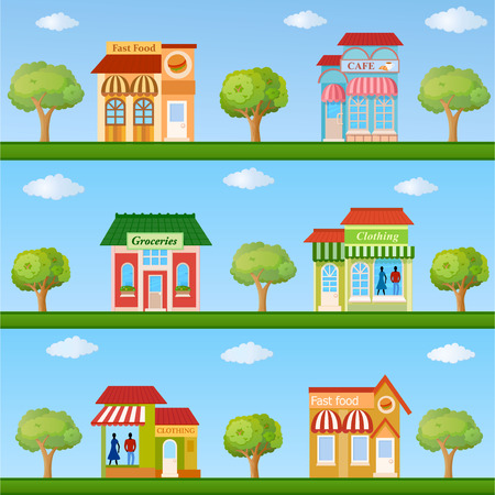 simple store: Building icon set. Colorful store and cafe building front view on nature background, vector illustration