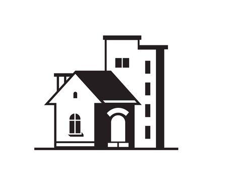 multi storey: Black house front icon, on white background. Vector illustration Illustration
