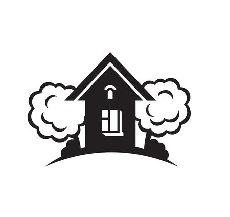 livelihoods: Black house front icon, on white background. Vector illustration Illustration