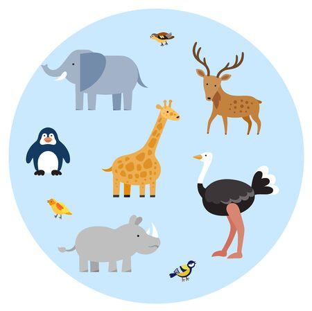 Zoo wild animals flat set.
