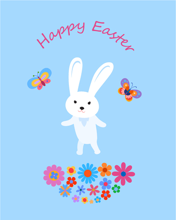 Easter greeting card with cartoon baby hare, butterflies and flowers