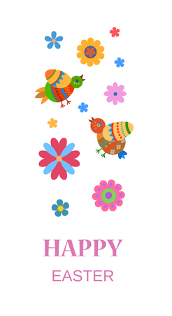 Easter greeting card with ornamented birds and flowers Illustration