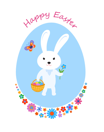 Easter greeting card with cartoon baby hare, butterfly and flowers