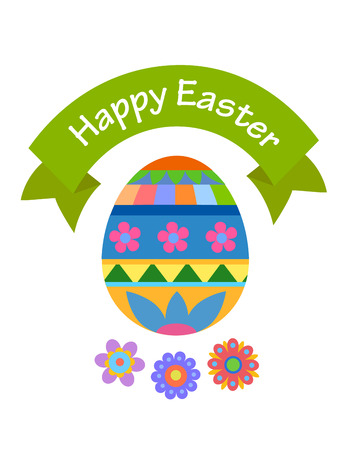 Easter greeting card with egg-shaped flowers Illustration