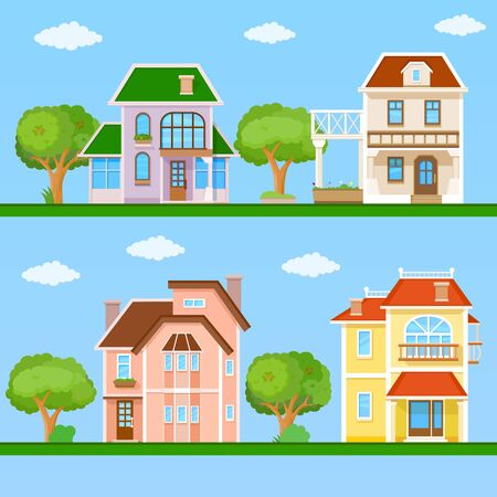 livelihoods: Flat house front icon set, vector illustration