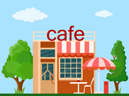 commercial tree service: Colorful  cafe front view on nature background, vector illustration
