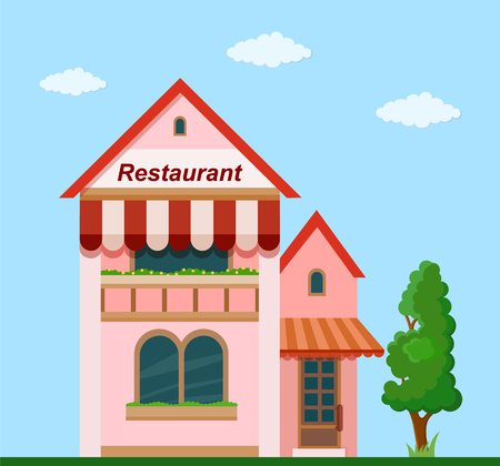 Colorful  restaurant front view on nature background, vector illustration. Illustration