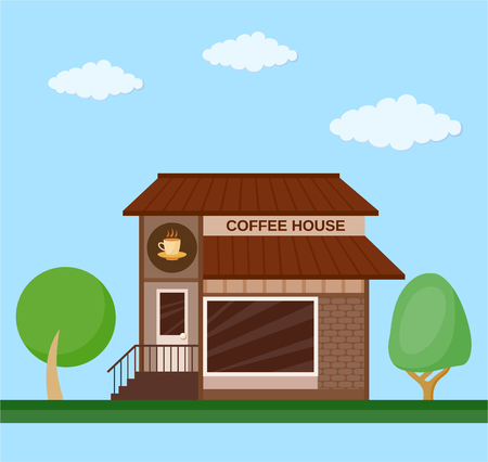 Colorful coffee house front view flat icon Illustration