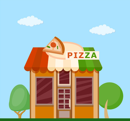 Colorful  pizzeria front view flat icon, vector illustration Illustration