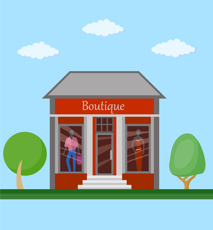 Boutiqie front view flat icon. Colorful clothing store building front view on nature background, vector illustration