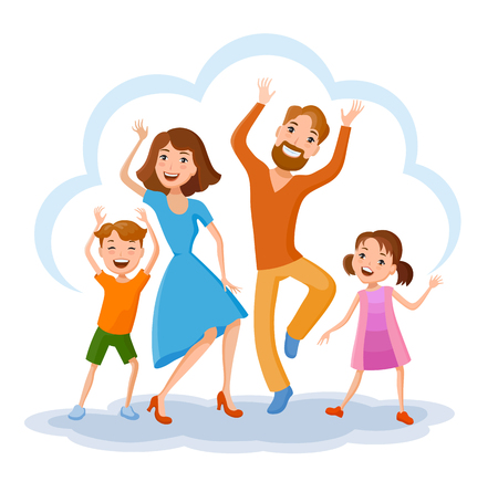 Fun cartoon family in colorful stylish clothes. Father, mother and children, daincing all together one family Ilustração