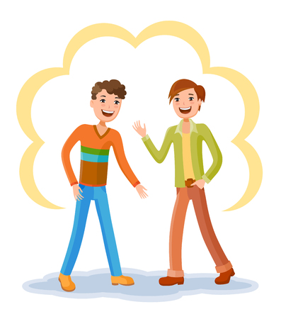 Two friendly male mature students chatting and two friends together. People young together and lifestyle adults. Beautiful characters and couple young friendly boy Illustration