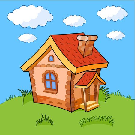 comely: Little cartoon house with a tiled red roof. The house is on a green lawn under a blue sky with clouds