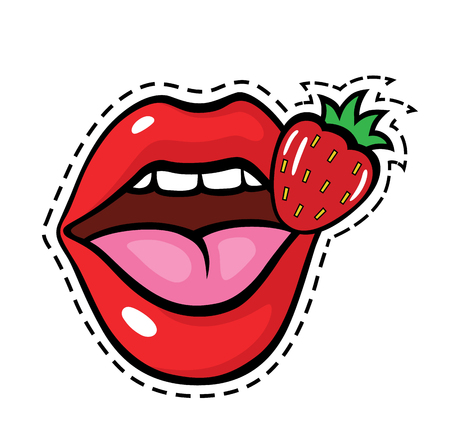 Fashion pop art style lips patch badge. Vector sticker, pin, patche in cartoon 80s-90s comic style