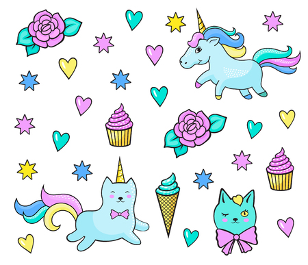 Pattern with fashion patch badges for girls. Unicorns, hearts, cats, flowers, sweets and other elements. Vector stickers, pins, patches in cartoon 80s-90s comic style. Illustration