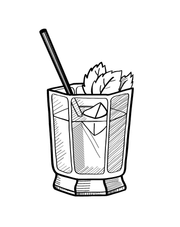 Alcoholic cocktail hand drawn vector illustration. Vintage cocktail icon with ice, and leaves of mint.