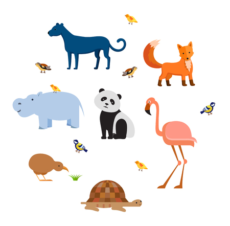 Zoo wild animals flat set. Vector illustration. Mammals birds and reptilia on white background