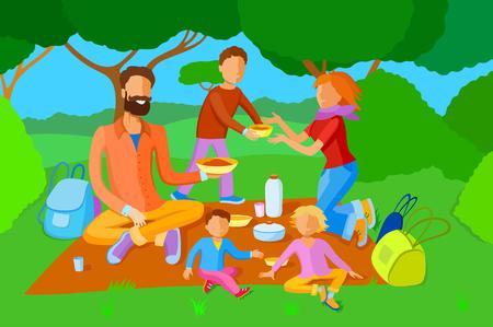 Familia de estilo plano colorido cenó en el fondo de la naturaleza. Padre, madre e hijos Vectores