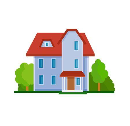 livelihoods: Flat house front icon, vector illustration