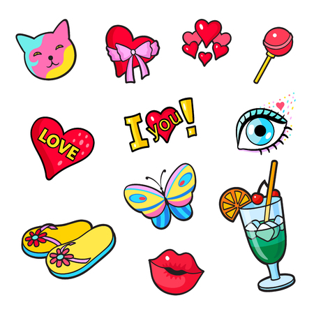 Set of fashion summer patch badges. Cat, heart, flip flops, cocktail, lips, eye, butterfly and other elements. Comic book style vector stickers, pins, patches