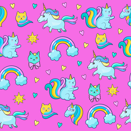Pop art style seamless pattern with fashion patch badges. Cats, unicorns, rainbow and other elements. Comic book style vector stickers, pins, patches Illustration