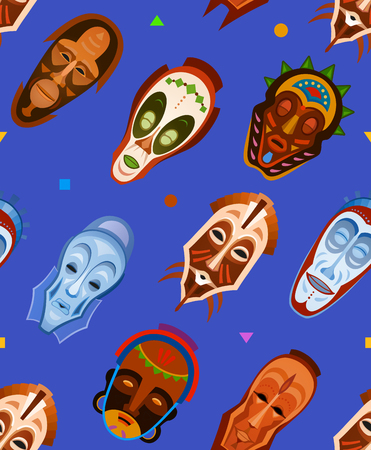 Vector background with african mask. Seamless pattern in ethnic style