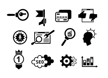 Set of search engine optimization internet marketing vector black icons. Simple style icons such as target management, idea, keyword research, payment method and other Illustration