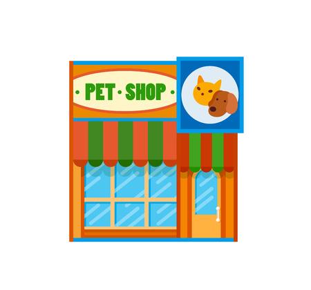 Icono plano plano de vista frontal de la tienda de mascotas, ilustración vectorial. Tienda con toldos Foto de archivo - 82073162