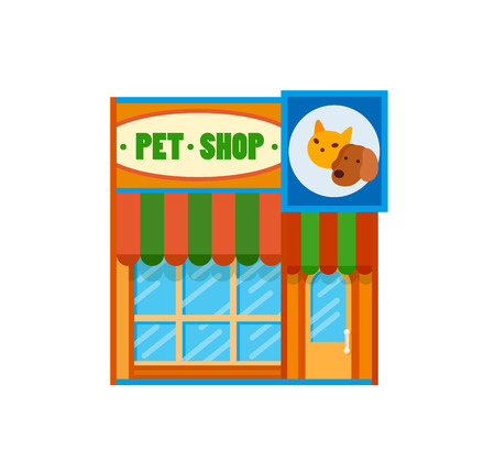 awnings: Pet shop front view flat icon, vector illustration. Storefront with awnings