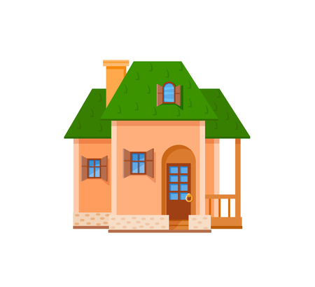 livelihoods: Flat house front icon, vector illustration. Cottage with green roof Illustration