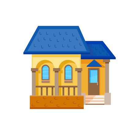 livelihoods: Flat house front icon, vector illustration. Cottage with dark blue roof Illustration