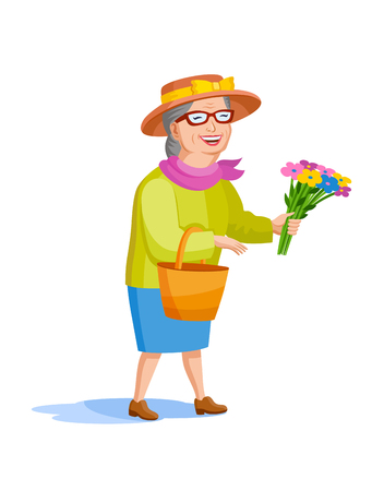 A smartly dressed old lady in a hat and a bouquet of flowers in her hands. Cartoon style old woman