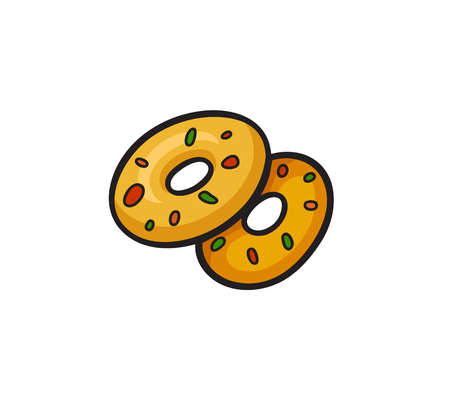 Fast food pop art style donuts patch badge. Vector sticker, pin, patche in cartoon 80s-90s comic style Иллюстрация