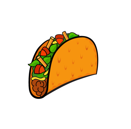 Fast food pop art style taco patch badge. Vector sticker, pin, patche in cartoon 80s-90s comic style